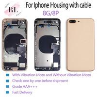 carcasa trasera iphone flex al por mayor-5PCS perfecto para el iPhone 8 8 más la mitad del bisel del chasis del marco de la tapa de la caja de cuerpo posterior de la batería con Flex Cable