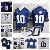 ingrosso jersey di calcio newton-Custom 2019 Tigers 150TH Blue White Jersey Any Name Number # 10 Bo Nix Newton 24 Daniel Thomas 9 Kam Martin 8 Jarrett Stidham