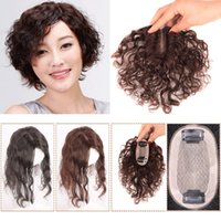 Wholesale women toupee resale online - Brown Wavy Human Hair Toupee Top For Hair Loss Natural Silk Base Topper Hairpiece Breathable Clip In Hair For Women