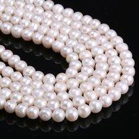9mm runde perle großhandel-JNMM Natürliche Süßwasser-Zuchtperlen Perlen Runde 100% natürliche Perlen für die Schmuckherstellung Halskette Armband 14 Zoll Größe 8-9mm Hohe Quali