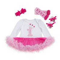 bodysuits kleider groihandel-Baby niedlich Bodysuits Ballkleid Kleider Mädchen Langarm Geburtstag Kleider mit Stirnband, Schuhe,