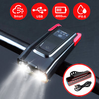 Wholesale bike lights kit for sale - Group buy 2000 mAh Smart Induction Bike Front Light Kit USB Rechargeable LED Taillight And Headlight With Horn For Bicycle