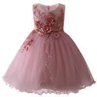 süße babykleidung großhandel-Mädchen Neue Geburtstag Romantisches Kleid Kinder Baby Süße Blumenmädchen Kleid Applique Prinzessin Puffy Kleid Kinderkleidung J190620