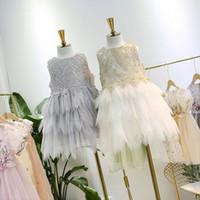 Wholesale wholesale children feather dresses online - 2019 Summer Children lace tulle tutu dress girls lace hollow feather embroidery vest dress kids tiered lace falbala princess dress F5241