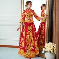 ingrosso lo stile cinese si adatta alle donne-Ricamo tradizionale Abito da sposa asiatico Noty Royal Women PhoenixFlower Qipao abito da sposa in stile cinese cheongsam S-XXL