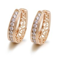 Wholesale gold filled 18k hoops resale online - MGFam E Oval New Hollow Style Hoop Earrings For Women Fashion Jewelry k Gold Plated Zircon Good Quality