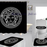 ducha estilo clásico al por mayor-Clásicos diosa impresión cortina de diseño de moda Ducha Cortina también vendemos mismo estilo de la alfombra Establece Negro nuevas cortinas de ducha