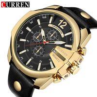 beliebte armbanduhren großhandel-CURREN Goldene Herrenuhren Top Luxus Beliebte Markenuhr Mann Quarzuhren Gold Clock Herren Armbanduhr Relogio Masculino 8176