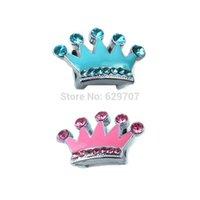 personalisierte geführte hundehalsband großhandel-Wholesale-Wholesale personalisierte 10mm Strass Slider Crown für Hundehalsband DIY Pet ID Tag Schmuck