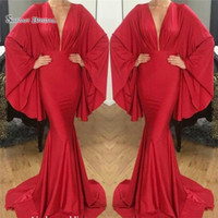Wholesale maternity wedding dress trumpet style resale online - 2019 Red V neck Mermaid Evening Dress Arabic Dubai Style Beach Wear Pageant Prom Party Gown Custom Made