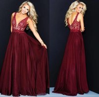 kız olay elbise şifon toptan satış-Bordo Derin V Boyun Kızlar Gelinlik Backless Kat Uzunluk Şifon Abiye Özel Durum Elbise BC1954