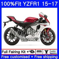 yamaha yzf r1 blanco rojo al por mayor-Injection Body Red White fábrica Para YAMAHA YZF R1 1000 YZF-R1 15 16 17 243HM.20 YZF-1000 YZF R 1 YZF1000 YZFR1 2015 2016 2017 kit de carenados