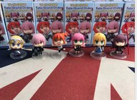 Wholesale mini figures phone for sale - Group buy 6 Set Cute Mini FGO Fate Grand Order Anime Action Figures Doll cm PVC Action Figure Collection Toys for Phone Accessories L391