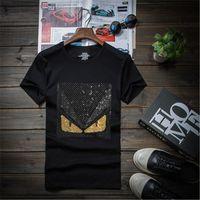 top camisa de algodón para hombre al por mayor-Diseño de diamantes de lujo para hombres Perforación Diamantes de imitación Camisetas de moda camisetas divertidas camisetas de marca tops de algodón Camisetas Crossfit Hip Hop 7XL 5M3-1116