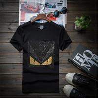 m broca venda por atacado-Homens de design de diamante de luxo Perfuração de Strass T shirt da forma t-shirts engraçadas t-shirts de marca topos de algodão Crossfit Hip Hop tees 7XL 5M3-1116