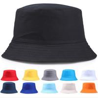 New Couple Cap Portable Fashion Solid Color Folding Fisherman Sun Cotton Hat Outdoor Men And Women Multi-Season Bucket Cap