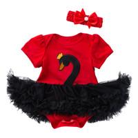 vestido de fiesta rojo infantil al por mayor-Vestidos de niña infantil Cisne Mameluco recién nacido vestido de tutú Niña Rosa roja de manga corta Ropa de bebé Vestido de fiesta