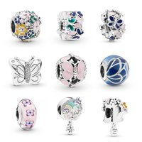 Wholesale pandora pink flower charms for sale - Group buy Pink Galss Charm Beads S925 Sterling Silver Fit Pandora Bracelet Necklace for Women DIY Fashion Jewelry Gifts