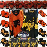 jerseys pingüinos al por mayor-2019 Stadium Series Penguins Black Flyers Jersey naranja Crosby Kessel Guentzel Malkin Giroux Hart Couturier Simmonds Patrick Voracek en blanco