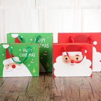 cookie geschenkset großhandel-Frohe Weihnachten-Geschenk-Box und Handtasche mit Bogen Xmas Eve Santa Claus Red Green Sweet Verpackung Papierboxen Set für Cookie Candy