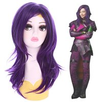 ingrosso porpora parrucca media-Discendenti Audrey Purple Natural Wavy Cosplay Parrucca Medium Long Hair USA Ship