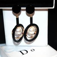 rodio plateado 925 plata diamante al por mayor-Estilo europeo de la moda exagerado estilo largo personalidad exquisita personalidad perla círculo grande temperamento pendientes