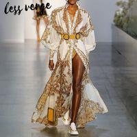 bata de gasa larga al por mayor-Lessverge Gold floral vestido largo mujer túnica longue Vintage linterna manga verano vestido festa elegante gasa vestido maxi vestido T190610