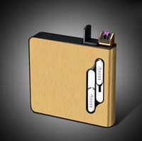 Wholesale big lighters for sale - Group buy Newest Colorful Rechargeable Cigarette USB Lighter Case Storage Box Portable Holder Multifunction ARC High Quality Big Smoking Cartridge DHL