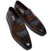 freizeitschuhe für hochzeit großhandel-Hohe Qualität Britischen Stil Männer Müßiggänger Schuhe Casual Elegant Slip On Party Hochzeit Spitz Männliche Schuhe Echte Kuh Leder