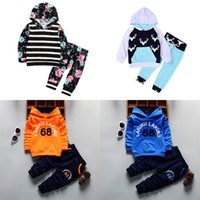 Wholesale fluorescent sports clothing for sale - Group buy Boys Letter Hooded Sets Toddler Boys Cartoon Sports Sweatshirt Kids Designer Clothes Infant Girls Striped Floral Pocket Casual Outfits