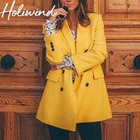 trajes de color amarillo al por mayor-2019 Primavera Otoño Color amarillo Blazers para mujer Oficina Dama Trajes de trabajo Trajes de mujer de moda Abrigo Blazer de doble botonadura