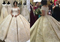 arabisches kleid kurz großhandel-African Dubai Arabische Spitze Ballkleid Weddings Kleider Vollapplikationen Perlen-Land-Hochzeit Kleid Sweep Zug Short Sleeve Boho-Brautkleid plus