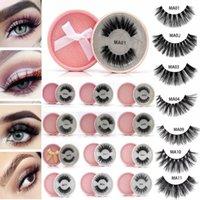 las pestañas brillan al por mayor-visón Pestañas postizas 3D Faux Mink Lash Reutilizable Fluffy Eyelash Invisible Band Pestañas dramáticas Paquete Pink Glitter
