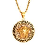 ingrosso monili della collana del pendente della moneta-Collane pendente unisex di design Vintage Mens catena di collegamento dell'oro Titanio acciaio rotondo moneta medusa Collana gioielli
