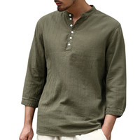 Wholesale mens v neck button pullover resale online - Casual Mens V neck Button Cotton Linen Soid Color Half Sleeve Retro T Shirts Loose Tops Male Summer Fashion Pullover T shirt