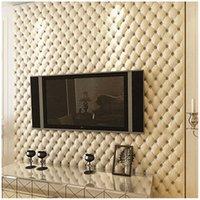 quarto de papel de parede único venda por atacado-Único europeu de luxo 3D estéreo imitação de couro papel de parede TV fundo parede quarto sala de estar varanda vídeo parede papel de parede