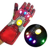 guantes de mano de carreras al por mayor-Artículos de fiesta de Halloween Avengers Endgame Superhero Iron Man Thanos Infinity Stone LED Gloves Latex Hand Gauntlet Cosplay Props
