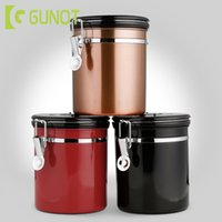 Wholesale tea storage canisters resale online - GUNOT L Stainless Steel Airtight Sealed Canister Storage Container Coffee Flour Sugar Tea Container With Scoop For Beans T200506