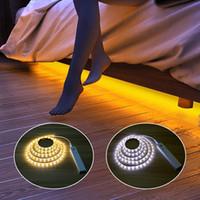batería pir led al por mayor-Sensor de movimiento PIR Luces LED para la cocina LED debajo del gabinete Luz Escaleras de noche Armario Noche Lámpara de seguridad Batería de potencia