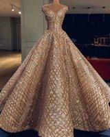 ouro lantejoulas mais vestido tamanho venda por atacado-2019 New Arrival ouro lantejoulas vestidos de noite V Neck Formal Wear vestido de festa Vestidos Plus Size Abendkleider robe de soiree