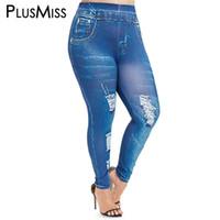 xxl hohe taillenjeans großhandel-Plusmiss Plus Size 5xl Sexy Elastische Faux 3d Jeans Leggings Frauen Denim Dünne Jeggings Hohe Taille Legins Große Größe Xxxxl Xxxl Xxl Y19072901