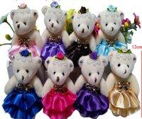 modelos de vestidos de desenhos animados venda por atacado-Os mais recentes modelos com vestido de diamantes urso de pelúcia boneca boneca anel chave pingente atacado dos desenhos animados buquê urso