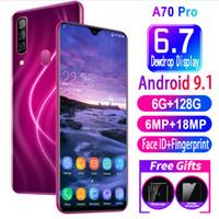 Wholesale ultra smart phone for sale - Group buy Universal A70 Pro GB RAM GB ROM Water Drop Screen Full Screen Ultra thin Smart G Mobile inch Phone Face Fingerprint Unlock Cellphone