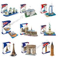 kağıt model binalar toptan satış-Notre Dame De Paris Eyfel Kulesi Dünyaca Ünlü binalar blokları 3D bulmaca Diy Kağıt Modeli montaj mimari Papercraft çocuk oyuncakları