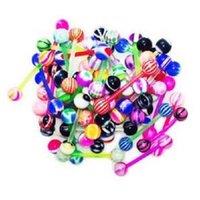 ingrosso palle per barbells-Anelli Tongue Duotone Acrilico Uv Tongue Ring Barbells Con Stripe Balls 6mm Bioflex Piercing All'ingrosso 100 pz / lotto