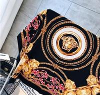 imprimir cor dourada venda por atacado-Venda por atacado - homens e mulheres 100% lenços de seda pura cor pura ouro preto pescoço impressão moda lenços macios