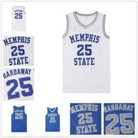camisas de basquete azul venda por atacado-NCAA Memphis State College Basketball Jersey 25 Penny costurado College Basketball Jerseys branco azul S-XXL