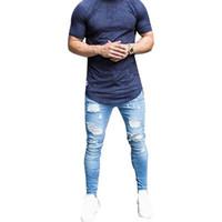 sexy männer s hosen großhandel-Oeak Dünne Blaue Jeans Männer Herbst Vintage Denim Bleistift Hosen Lässige Stretch Hose 2019 Sexy Loch Zerrissene Männliche Reißverschluss Jeans 3XL
