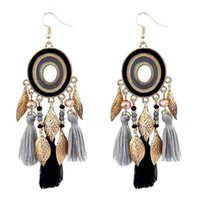 suministros de joyería bohemia al por mayor-Bohemian Golden Long Hook Earring Tassels Eardrop fashion leaf Pendientes Joyas para mujeres Suministros para fiestas festivas n1