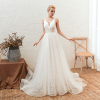 Wholesale bridal shower dresses for sale - Group buy M28346 Spaghetti Straps White Ivory Discount Wedding Dresses Lace Applique Beach Wedding Gowns Low Back Bridal Shower Dresses